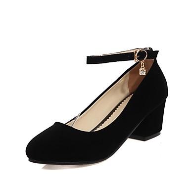 Mujer Zapatos Ante Primavera verano Confort Tacones Tacón Cuadrado Dedo Puntiagudo Negro / Almendra clsFLpvYrO