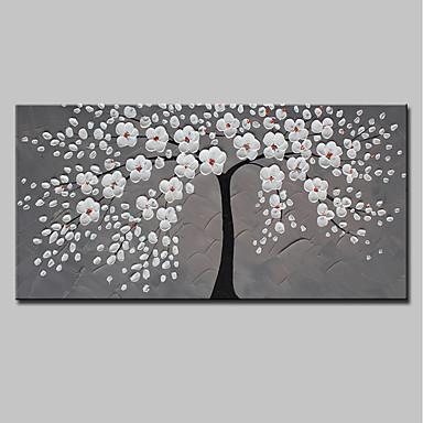 ציור שמן צבוע-Hang מצויר ביד - מופשט פרחוני / בוטני מודרני כלול מסגרת פנימית / בד מתוח