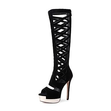 בגדי ריקוד נשים נעליים עור נובוק אביב / קיץ מגפיים אופנתיים מגפיים עקב סטילטו בוהן מציצה מגפיים עד הברך שחור
