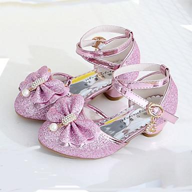 Dla dziewczynek Obuwie Brokat Wiosna / Lato Comfort / Buty dla małych druhen Szpilki Stras / Kokarda / Perła na Silver / Purple / Różowy