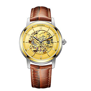 baratos Relógios Homem-CADISEN Homens Relógio de Moda Relógio Elegante Relógio Esqueleto Japanês Automático - da corda automáticamente Couro Legitimo Preta / Marrom 50 m Impermeável Relógio Casual Analógico Clássico