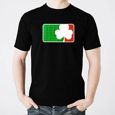 T-shirty LED Oświetlenie / Modny design / Electro luminescentowe Czysta bawełna Imprezowa / Na co dzień 2 baterie AAA