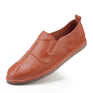 Męskie Komfortowe buty Skóra Wiosna / Lato Mokasyny i buty wsuwane Biały / Czarny / Pomarańczowy