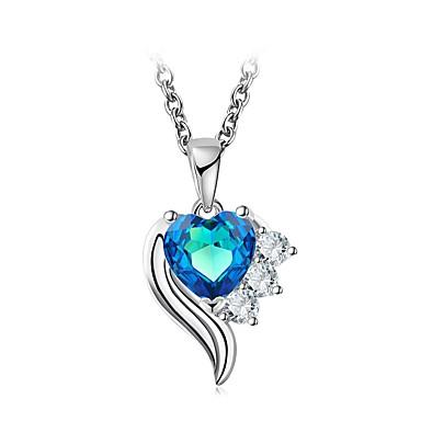 ราคาถูก สร้อยคอ-สำหรับผู้หญิง Cubic Zirconia เพชรจิ๋ว จำลอง สร้อยคอ Choker สร้อยคอจี้ เงินสเตอร์ลิง Heart Flower คลาสสิก วินเทจ สง่างาม สีฟ้า 49 cm สร้อยคอ เครื่องประดับ 1 สำหรับ งานแต่งงาน งานราตรี