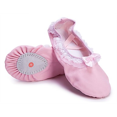 Girls' Ballet Shoes Canvas Flat Lace Flat Heel Customizable Dance Shoes Pink / Indoor / Practice