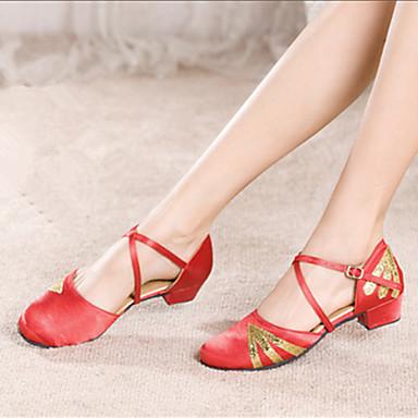 baratos Shall We® Sapatos de Dança-Mulheres Paetês / Cetim Sapatos de Dança Moderna Salto Salto Personalizado Personalizável Fúcsia / Preto e Dourado / Vermelho / Interior / EU39
