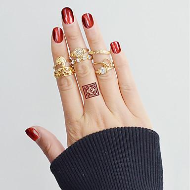 billige Motering-Dame Ring Set Midiringe Stable Ringer 7pcs Gull Legering Sirkelformet damer Grunnleggende Mote Daglig Stevnemøte Smykker Blad Formet Hjerte Blomst