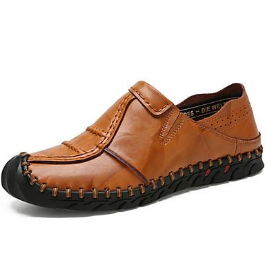 Muškarci Cipele Koža Proljeće Ljeto Cipele za ronjenje Mokasine Natikače i mokasinke za Kauzalni Vanjski Crn Svjetlosmeđ Tamno smeđa