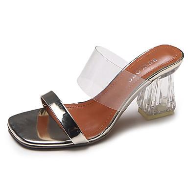 Mujer Zapatos PU Primavera verano Confort Zuecos y pantuflas Talón de bloque Dedo redondo Negro / Plateado XM9M0Nq