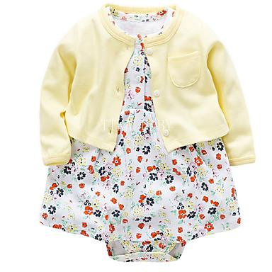 billige Sett med babyklær-Baby Pige Afslappet Daglig Blomstret Kortærmet Normal Bomuld Tøjsæt Beige
