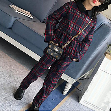 Girls' Plaid Patchwork Clothing Set, Rayon Spring Fall Long Sleeves Check Green Red