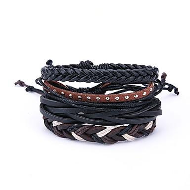 abordables Bracelet-4pcs Bracelets Plusieurs Tours Bracelets en cuir Homme Cuir Rétro Vintage énorme Bracelet Bijoux Noir Irrégulier pour Quotidien Carnaval