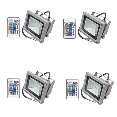 4pcs 10 W LED Floodlight / Lawn Lights Waterproof / Dimmable / Decorative RGB 85-265 V Outdoor Lighting / Courtyard / Garden 1 LED Beads
