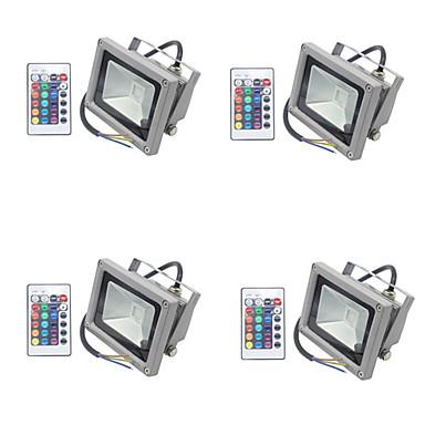 abordables Éclairage Extérieur-4pcs 10 W Projecteurs LED / Lumières de pelouse Imperméable / Intensité Réglable / Décorative RVB 85-265 V Eclairage Extérieur / Cour / Jardin 1 Perles LED