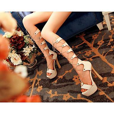 Beige Rubans Noir 06648706 Femme Talon Jaune Bottier Chaussures Polyuréthane Gladiateur Confort Sandales Eté w1Zgqz