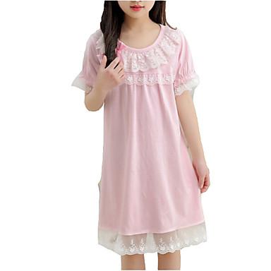 Dzieci Dla dziewczynek Solidne kolory Krótki rękaw Sukienka / Śłodkie