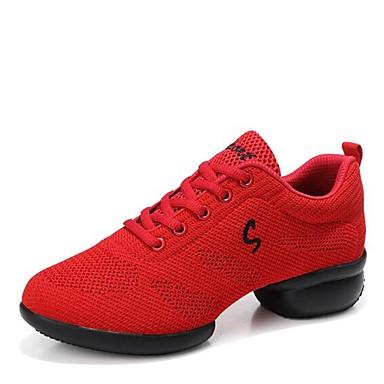 baratos Shall We® Sapatos de Dança-Mulheres Sapatos de Dança Tricô Tênis de Dança Têni / Meia Solas Salto Baixo Personalizável Preto / Branco / Vermelho