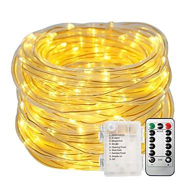 povoljno LED svjetla u traci-10m string svjetla svjetla postavlja 100leds topla bijela boja mijenjaju vodootporne dekorativne baterije powered 1set