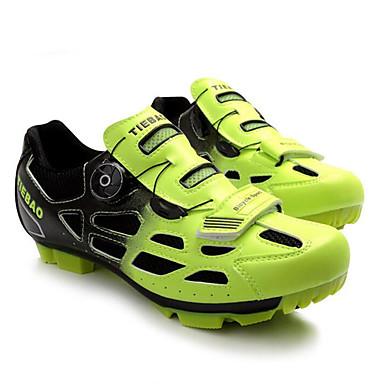 billige Sykkelsko-Tiebao® Mountain Bike-sko Karbonfiber Anti-Skli Sykling Grønn / Svart Herre Sykkelsko / ånd bare Blanding / Krok og øye