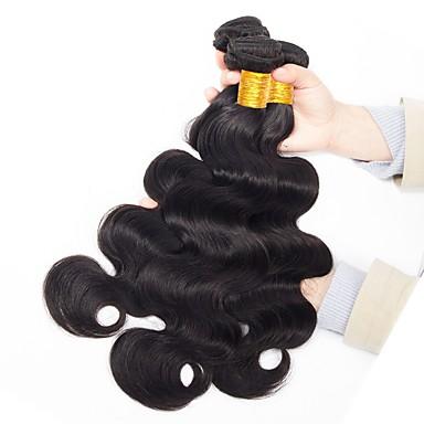 baratos Extensões de Cabelo Natural-3 pacotes Cabelo Malaio Onda de Corpo 10A Cabelo Virgem Não processado Cabelo Natural Preta Côr Natural Tramas de cabelo humano Nova chegada Coloração Jovem Extensões de cabelo humano Mulheres
