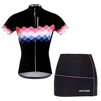 c38a957bb WOSAWE Women s Short Sleeve Cycling Jersey with Shorts - White   Black Bike  Skirt   Jersey