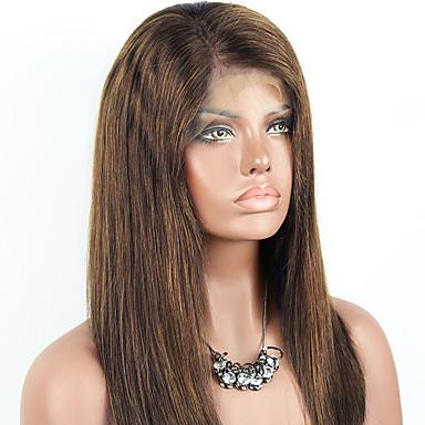 Włosy naturalne remy Koronkowy przód Peruka Włosy brazylijskie Prosto Peruka 130% Z Baby Hair / Naturalna linia włosów / Nieprzetworzony Jasnobrązowy Damskie Krótki / Długo / Średniej długości Peruki
