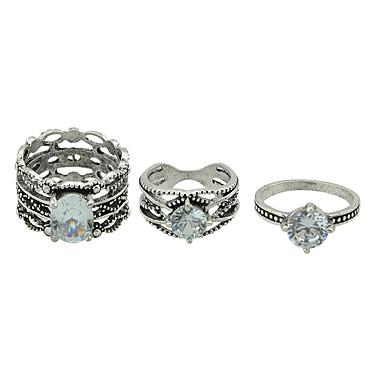 baratos Bijuteria de Mulher-Mulheres Conjunto de anéis Liga senhoras Básico Fashion Anéis Jóias Prata Para Diário Encontro 7 3pçs