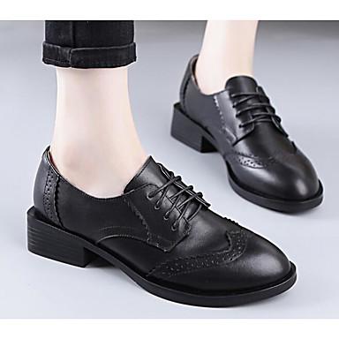 Chaussures Noir Automne 06627748 Printemps Cuir Bottier Femme Talon Oxfords Confort qdCBtn81