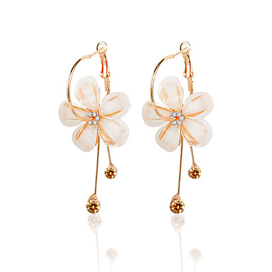 Women's Opal Drop Earrings - Gemstone, Zircon Floral / Botanicals, Flower Gold For Prom / Going out