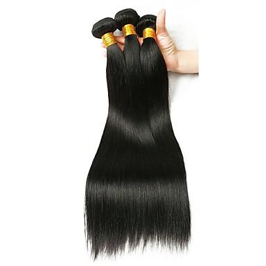 baratos Extensões de Cabelo Natural-3 pacotes Cabelo Brasileiro Liso 8A Cabelo Humano Extensões de Cabelo Natural 8-28 polegada Côr Natural Tramas de cabelo humano extensão Melhor qualidade Extensões de cabelo humano Mulheres