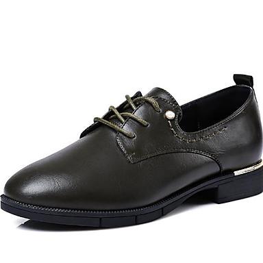 Noir Bout Chaussures Automne Gris 06627990 Polyuréthane Talon Oxfords Confort rond Vert Bas Printemps Femme A4pqwxgv4