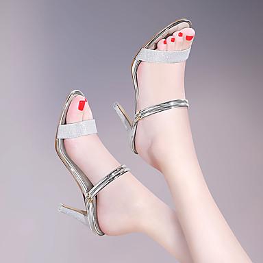 Argent Cuir Soirée Femme Aiguille Eté Verni Chaussures amp; Basique Automne Sandales Talon Or Evénement Escarpin 06648606 Gladiateur 7qqfp5w
