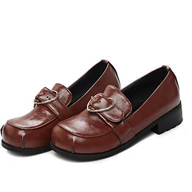 Bas Rouge Noir 06623314 Mocassins Chaussons Similicuir Confort Marron Bout Talon Femme rond Chaussures Printemps blanc D6148 et Automne 1ZApvq