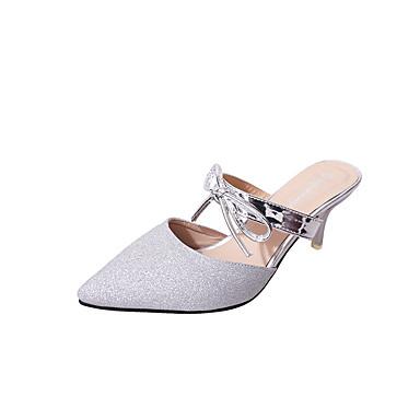 Mulheres Sapatos Couro Ecológico Verão Sandálias Salto Baixo Roxo / Prateado / Dourado