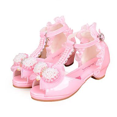baratos Sapatos de Criança-Para Meninas Couro Ecológico Sandálias Little Kids (4-7 anos) / Big Kids (7 anos +) Conforto / Sapatos para Daminhas de Honra Laço / Pérolas / Presilha Branco / Rosa claro Primavera / Verão
