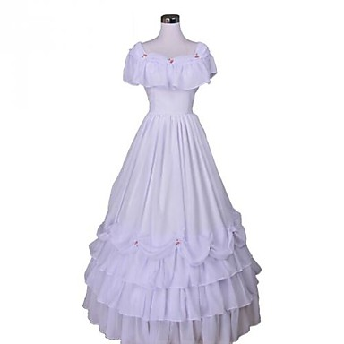 Medieval Victorian Costume Women's Dress Masquerade Party Costume White Vintage Cosplay Lace Organza FRP Terylene Sleeveless Long Length