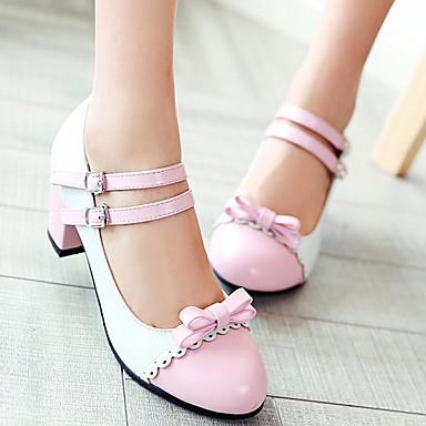 à Bottier Nouveauté rond Automne Noeud Femme Rose Chaussures 06641899 Jaune Bleu Bout Similicuir Printemps Chaussures Talons Confort Talon OXOvW0S