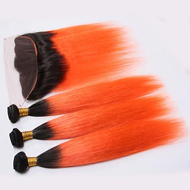 baratos Extensões de Cabelo Natural-3 pacotes com fechamento Cabelo Brasileiro Liso 8A Cabelo Humano Trama do cabelo com Encerramento Laranja Tramas de cabelo humano Cabelo Ombre Extensões de cabelo humano Mulheres