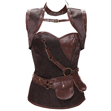 Plague Doctor Medieval Steampunk 18th Century Costume Women's Corset Harness Belt Black / Brown / Silver Vintage Cosplay Lace Sleeveless