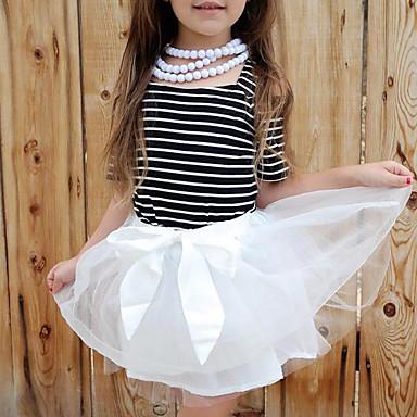 שמלה שרוולים קצרים פסים יום יומי בנות פעוטות / כותנה / חמוד