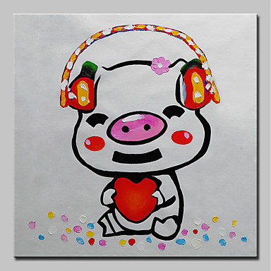 Mintura Hand Painted Music Piggy Animal Oil Painting On Canvas
