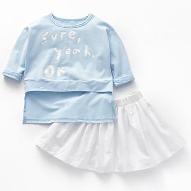 Brzdąc Dla dziewczynek Aktywny Szkoła Nadruk Plisy / Nadruk Długi rękaw Bawełna Komplet odzieży / Urocza