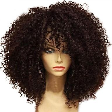 Nieprzetworzone Siateczka z przodu Peruka Włosy brazylijskie Curly Peruka Fryzura cieniowana 130% Gęstość włosów Peruka afroamerykańska Dla czarnoskórych kobiet Czarny Damskie Krótkie Długie Średniej