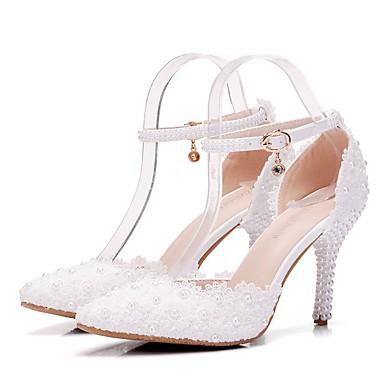 Aiguille Perle Chaussures Talon Fleur mariage Bout Polyuréthane 06641715 Printemps Automne pointu Nouveauté de Femme Confort Chaussures en vnORdzqdxw