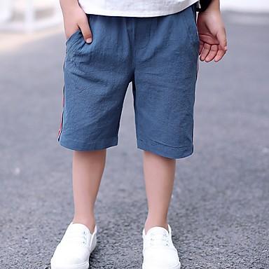 baratos Calças para Meninos-Bébé Para Meninos Activo Diário Sólido Listrado Estampado Linho Shorts Azul