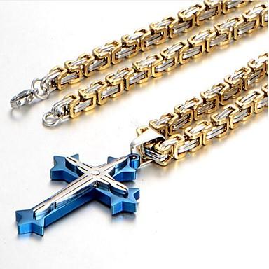 1ee33e0b65cc Hombre Largo bizantino Collares con colgantes collar largo Acero inoxidable  Titanio Acero Cruz Vintage Moda Cool Negro Plata Azul 60 cm Gargantillas  Joyas ...