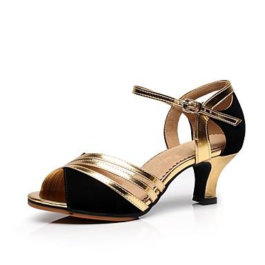 baratos Shall We® Sapatos de Dança-Mulheres Sapatos de Dança Camurça Sapatos de Dança Latina Salto Salto Personalizado Personalizável Dourado / Prata / Interior