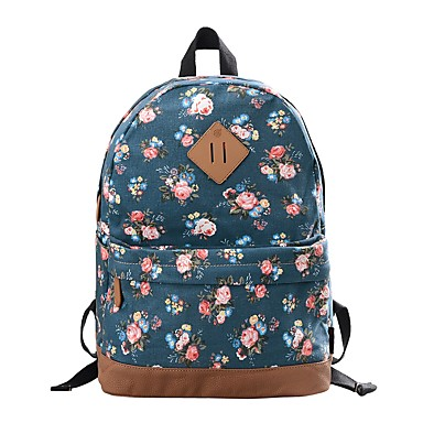 cheap Backpacks-Women's Bags Canvas Backpack Pattern / Print Floral Print Red / Dark Blue / Royal Blue