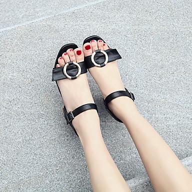 Chaussures Femme 06648594 Blanc Sandales Bout Confort Printemps Eté Sandales Noir Talon ouvert talons Similicuir à Bottier Apwapd