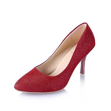 Women's Shoes PU(Polyurethane) Summer Comfort Heels Kitten Heel Pointed Toe Sparkling Glitter Gold / Black / Red / Dress